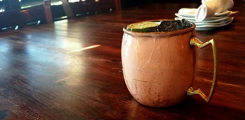 Moscow Mule, served in the traditional copper mug.